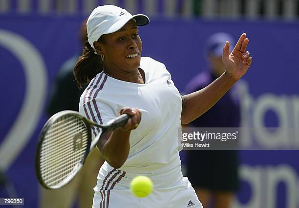 Chanda Rubin of the USA in action against Anastasia Myskina of Russia during the final of the ladies singles in the Britannic Asset Management...