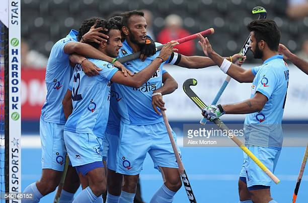 Chandanda Thimmaiah of India celebrates after scoring their second goal during the FIH Mens Hero Hockey Champions Trophy match between India and...