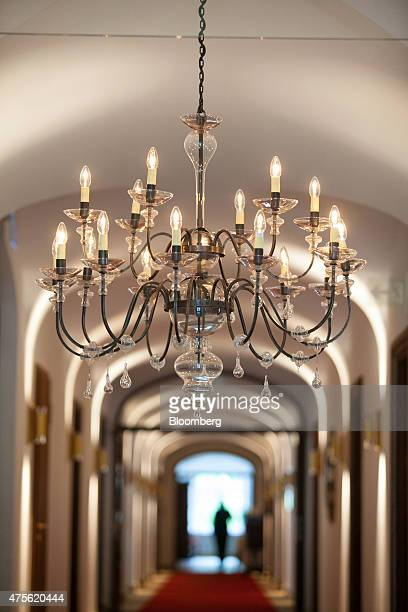 A chandelier hangs above a corridor in the Schloss Elmau hotel ahead of the Group of Seven nations meeting in the Bavarian Alps in Krun Germany on...
