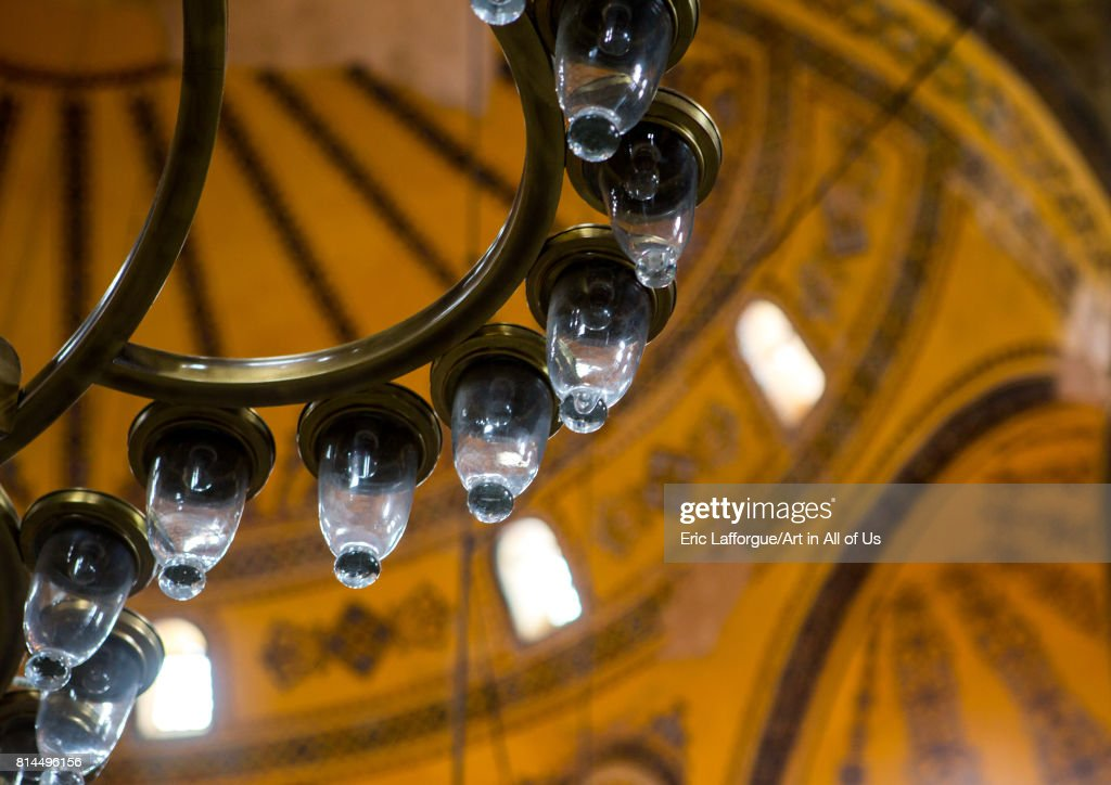 Chandelier Of Hagia Sophia Sultanahmet Istanbul Turkey On April 27 2017 In