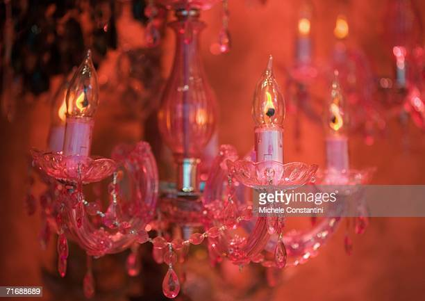 Chandelier, red-toned