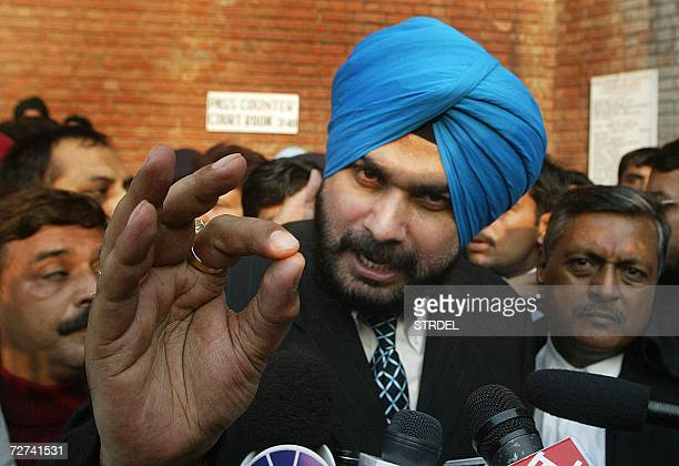 Former Indian international cricketer and opposition party MP Navjot Singh Sidhu addresses the media after his hearing at the Punjab and Haryana High...