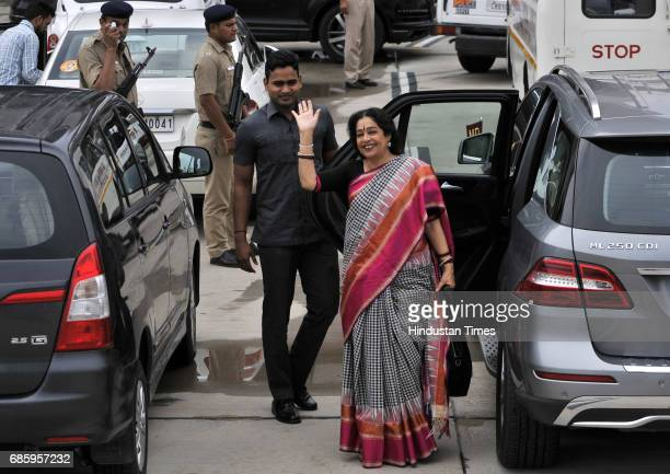 Chandigarh MP Kirron Kher at airport to receive BJP National President Amit Shah for a road show and to inaugurate the newlyrenovated hitech BJP...