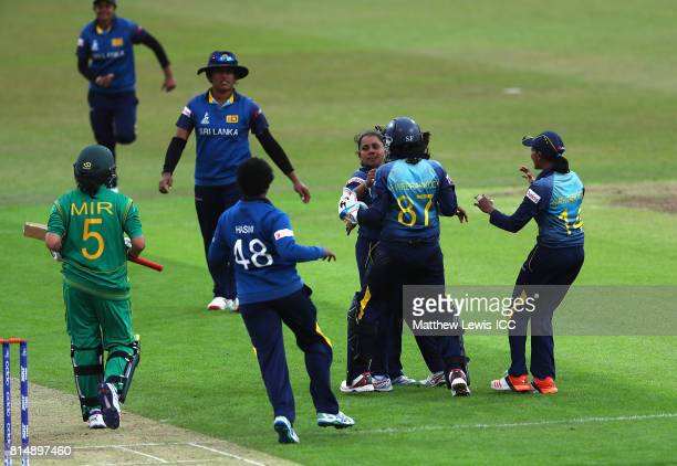 Chandima Gunaratne of Sri Lanka is congratulated by team mates after bowling Sana Mir of Pakistan for LBW during the ICC Women's World Cup 2017 match...