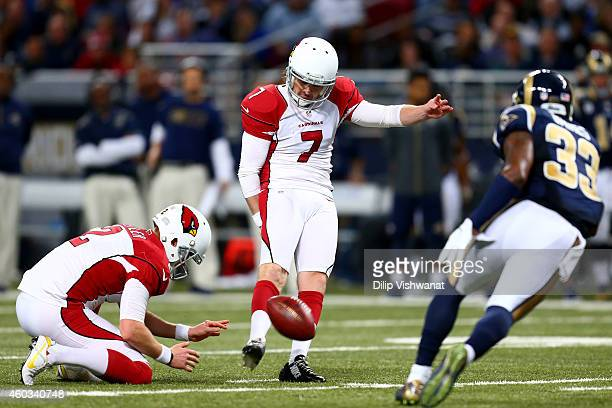 Chandler Catanzaro of the Arizona Cardinals kicks a field goal in the fourth quarter against the St Louis Rams during their game at Edward Jones Dome...