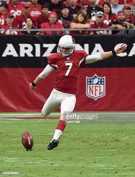 Chandler Catanzaro of the Arizona Cardinals kicks the ball off against the San Francisco 49ers at University of Phoenix Stadium on September 27 2015...