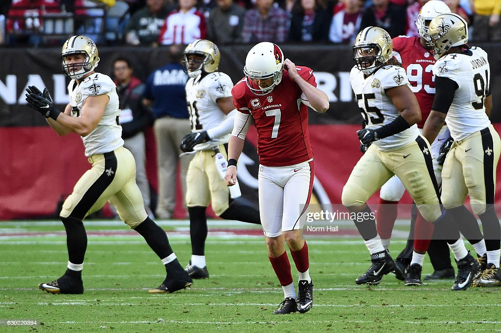 Chandler Catanzaro #7 of the Arizona Cardinals reacts after missing a field goal against the New Orleans Saints at University of Phoenix Stadium on December 18, 2016 in Glendale, Arizona. Saints won 48-41.