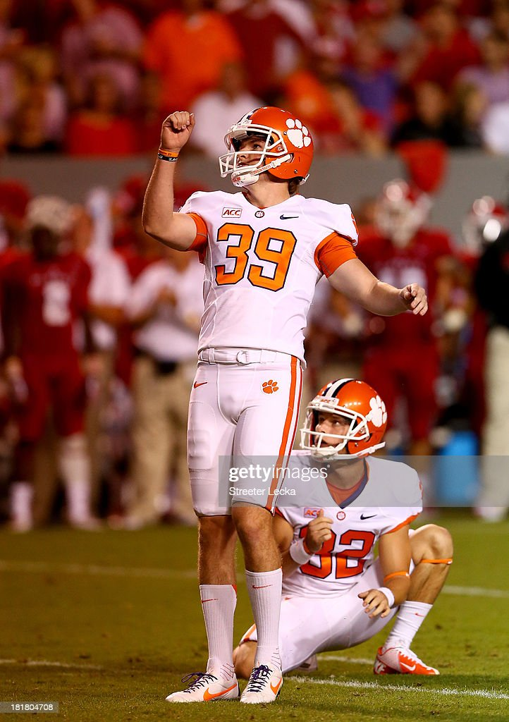 Chandler Catanzaro #39 of the Clemson Tigers during their game at Carter-Finley Stadium on September 19, 2013 in Raleigh, North Carolina.