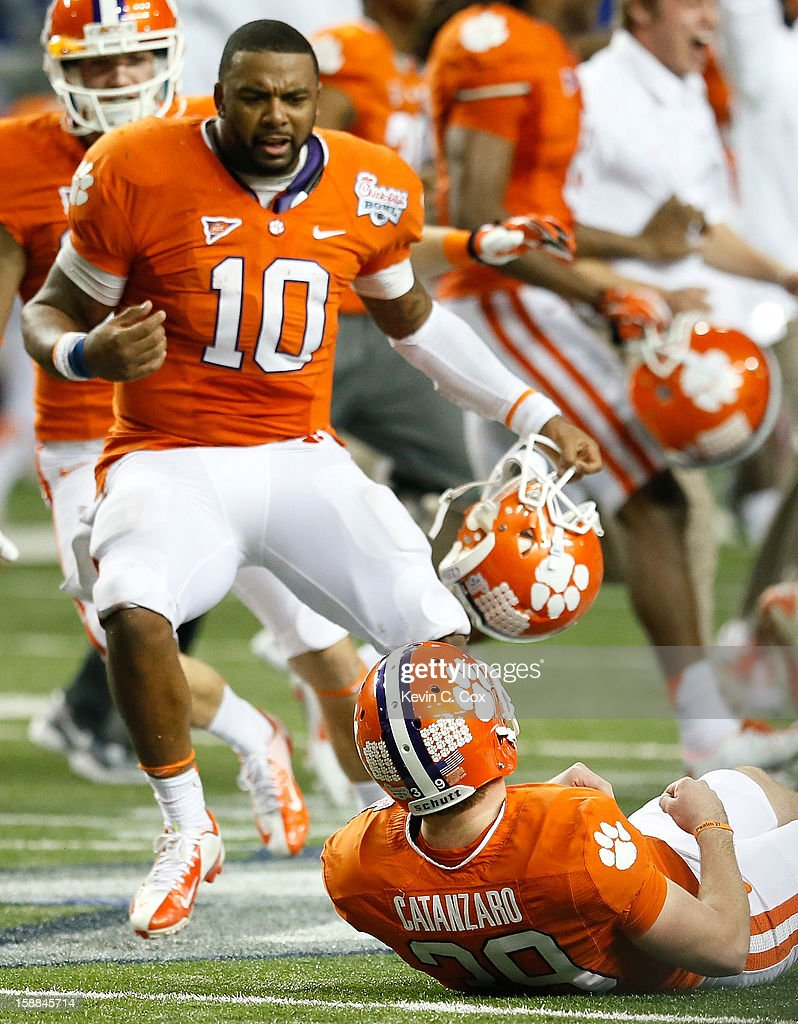 Chandler Catanzaro #39 of the Clemson Tigers reacts after kicking the game-winning field goal against the LSU Tigers during the 2012 Chick-fil-A Bowl at Georgia Dome on December 31, 2012 in Atlanta, Georgia.