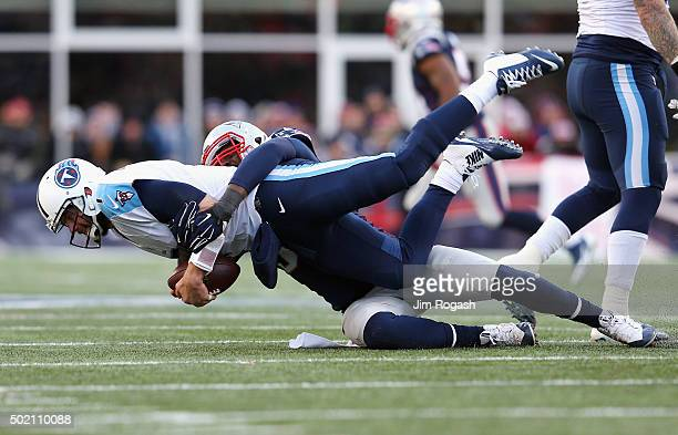 Chandler Jones of the New England Patriots sacks Zach Mettenberger of the Tennessee Titans during the second half at Gillette Stadium on December 20...