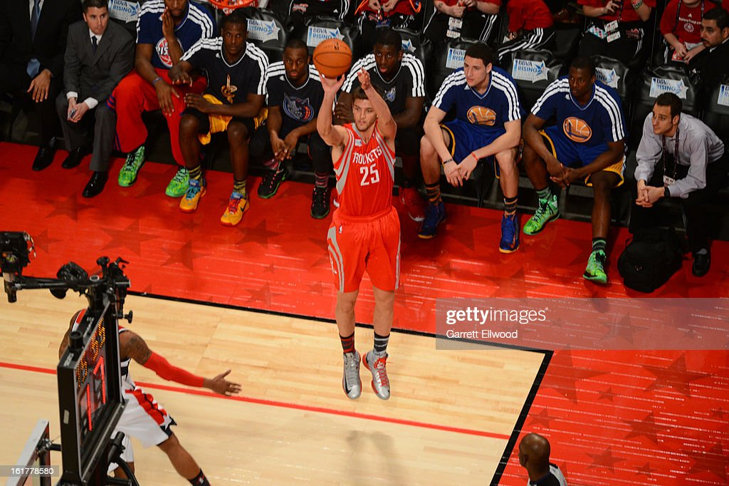 Chandler Parsons #25 of Team Shaq attempts a three point shot against Team Chuck during 2013 BBVA Rising Stars Challenge at Toyota Center on February 15, 2013 in Houston, Texas.