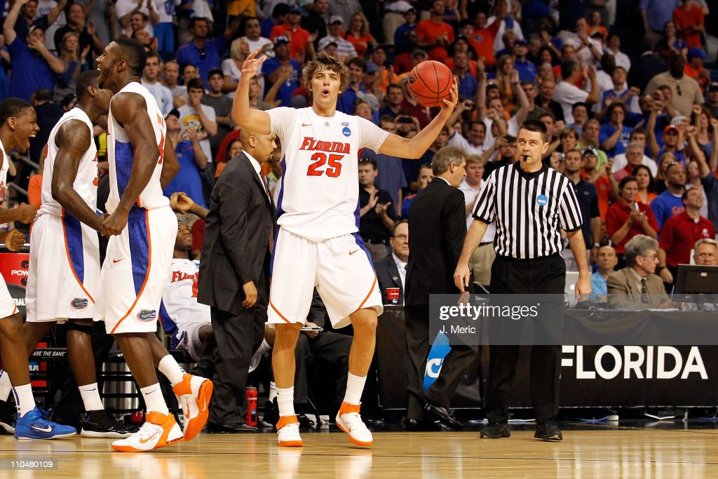 Chandler Parsons of the Florida Gators celebrates after FLordia won 7365 against the UCLA Bruins during the third round of the 2011 NCAA men's...