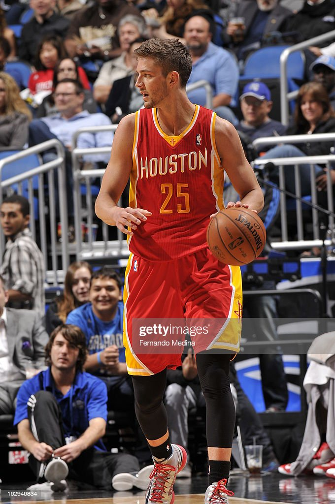Chandler Parsons #25 of the Houston Rockets dribbles the ball against the Orlando Magic during the game on March 1, 2013 at Amway Center in Orlando, Florida.
