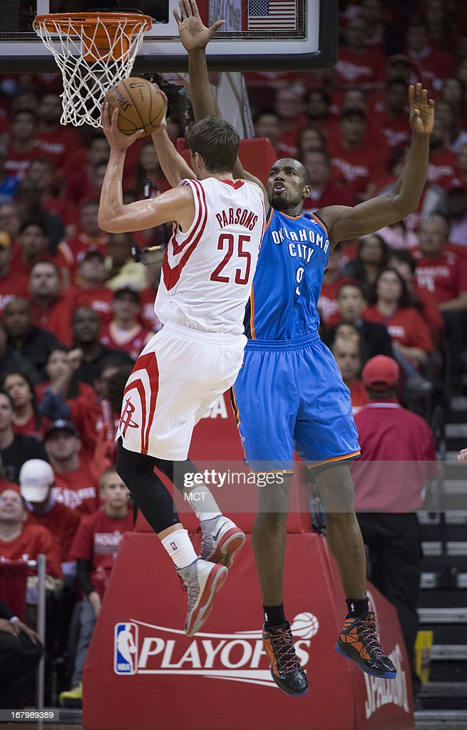 Chandler Parsons (25) of the Houston Rockets drives for a shot against Serge Ibaka (9) of the Oklahoma City Thunder in the second half of their Western Conference playoff game game on Friday, May 3, 2013, in Houston, Texas.