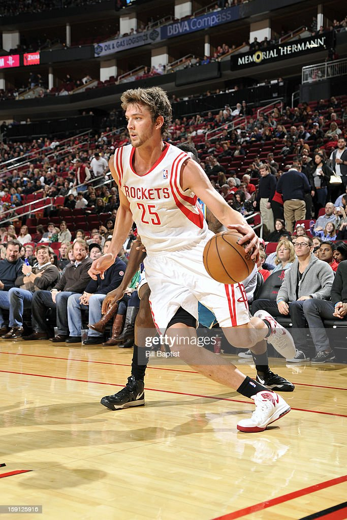 <a gi-track='captionPersonalityLinkClicked' href=/galleries/search?phrase=Chandler+Parsons&family=editorial&specificpeople=4249869 ng-click='$event.stopPropagation()'>Chandler Parsons</a> #25 of the Houston Rockets drives to the basket against the New Orleans Hornets on January 2, 2013 at the Toyota Center in Houston, Texas.