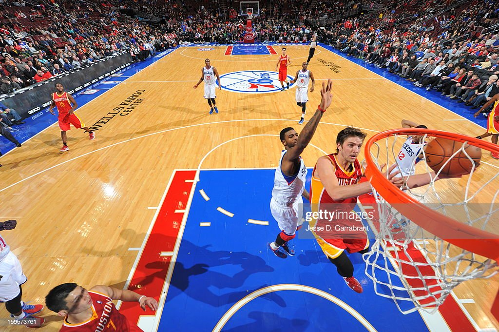 Chandler Parsons #25 of the Houston Rockets drives to the basket against the Philadelphia 76ers at the Wells Fargo Center on January 12, 2013 in Philadelphia, Pennsylvania.