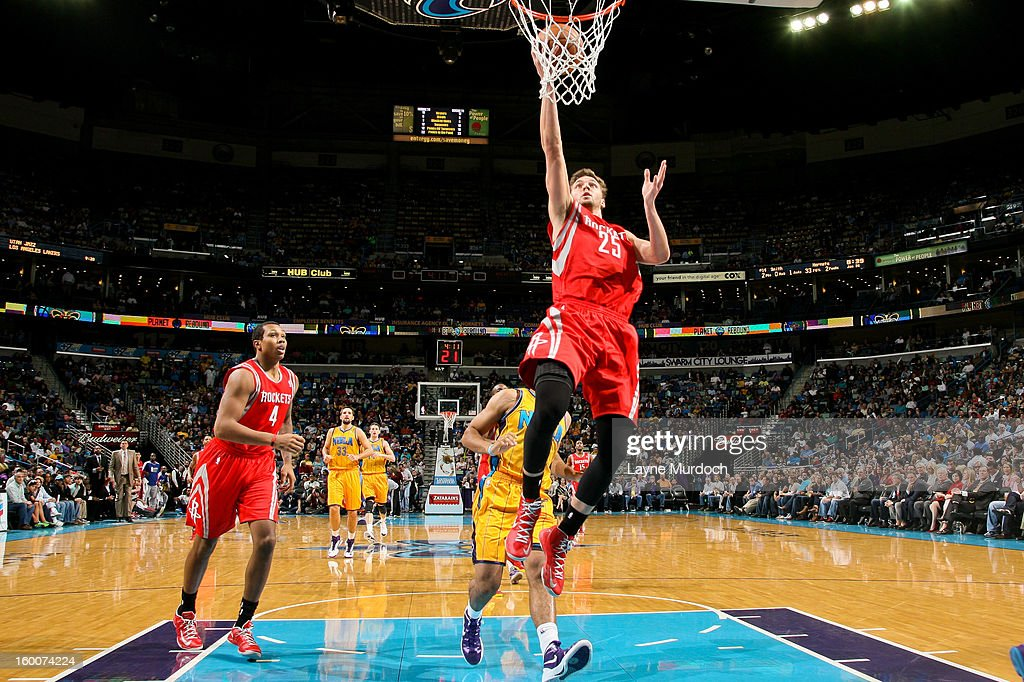 <a gi-track='captionPersonalityLinkClicked' href=/galleries/search?phrase=Chandler+Parsons&family=editorial&specificpeople=4249869 ng-click='$event.stopPropagation()'>Chandler Parsons</a> #25 of the Houston Rockets drives to the basket against the New Orleans Hornets on January 25, 2013 at the New Orleans Arena in New Orleans, Louisiana.
