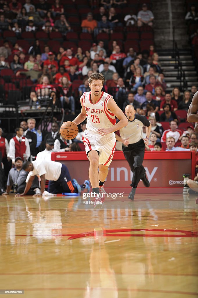 Chandler Parsons #25 of the Houston Rockets drives up-court against the Charlotte Bobcats on February 2, 2013 at the Toyota Center in Houston, Texas.
