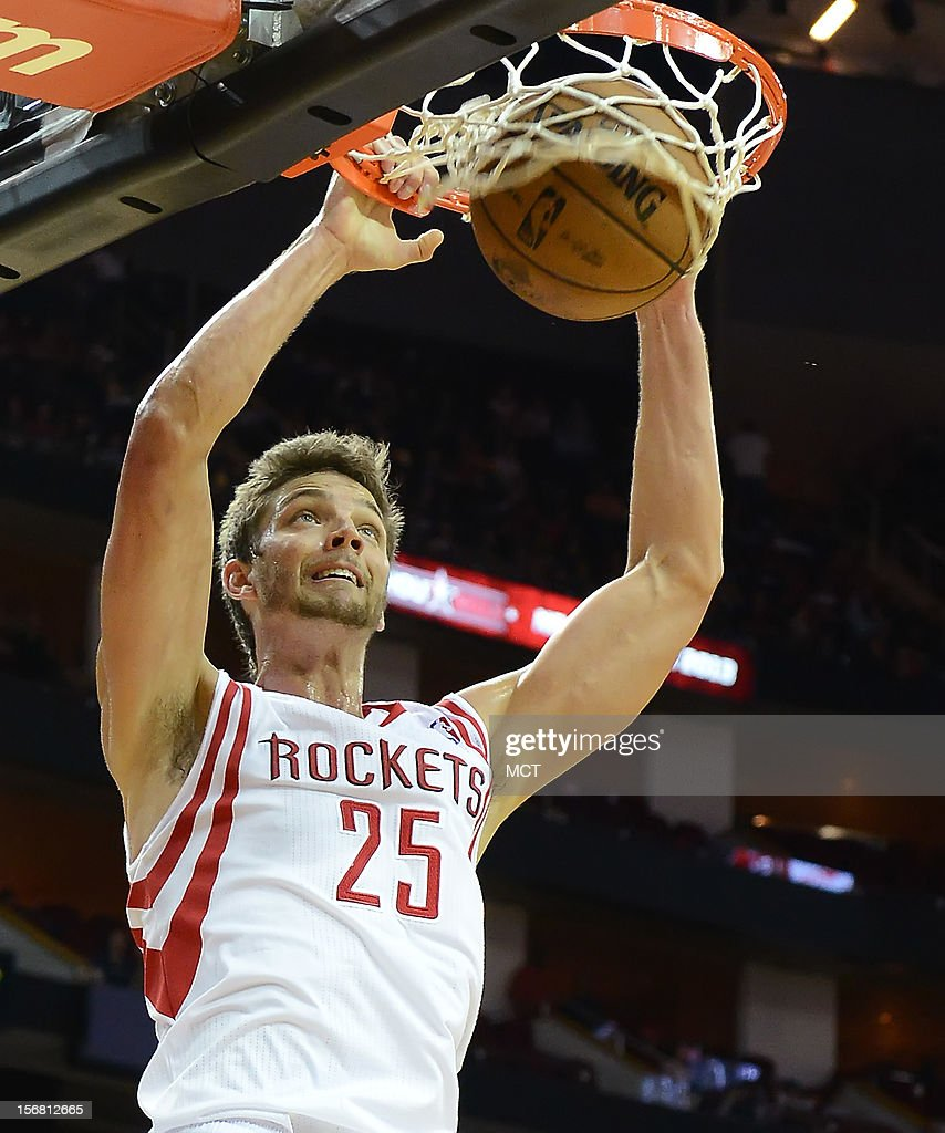 Chandler Parsons (25) of the Houston Rockets dunks against the Chicago Bulls in the second half of the Rockets' 93-89 victory on Wednesday, November 21, 2012, in Houston, Texas.