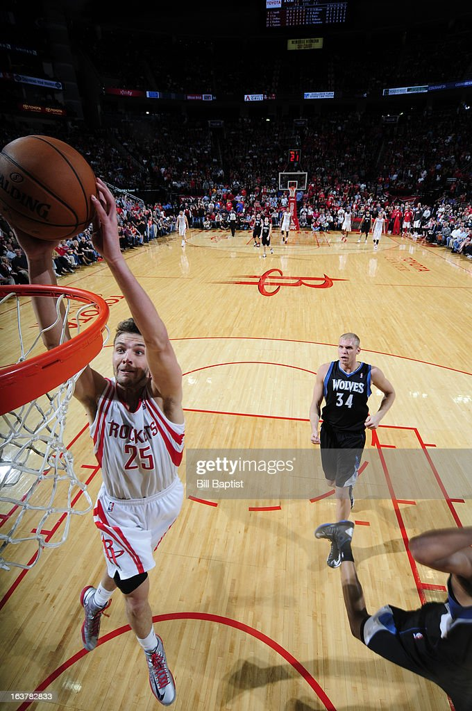 Chandler Parsons #25 of the Houston Rockets dunks against the Minnesota Timberwolves on March 15, 2013 at the Toyota Center in Houston, Texas.