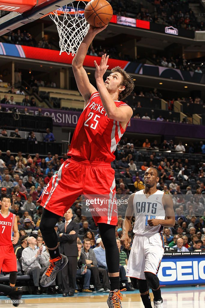 Chandler Parsons #25 of the Houston Rockets goes in for a layup against the Charlotte Bobcats at the Time Warner Cable Arena on January 21, 2013 in Charlotte, North Carolina.