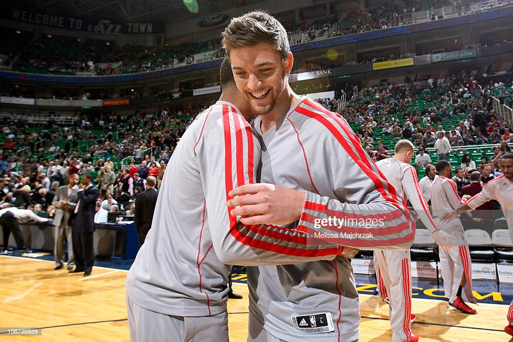 Chandler Parsons #25 of the Houston Rockets greets teammates before playing against the Utah Jazz at Energy Solutions Arena on November 19, 2012 in Salt Lake City, Utah.