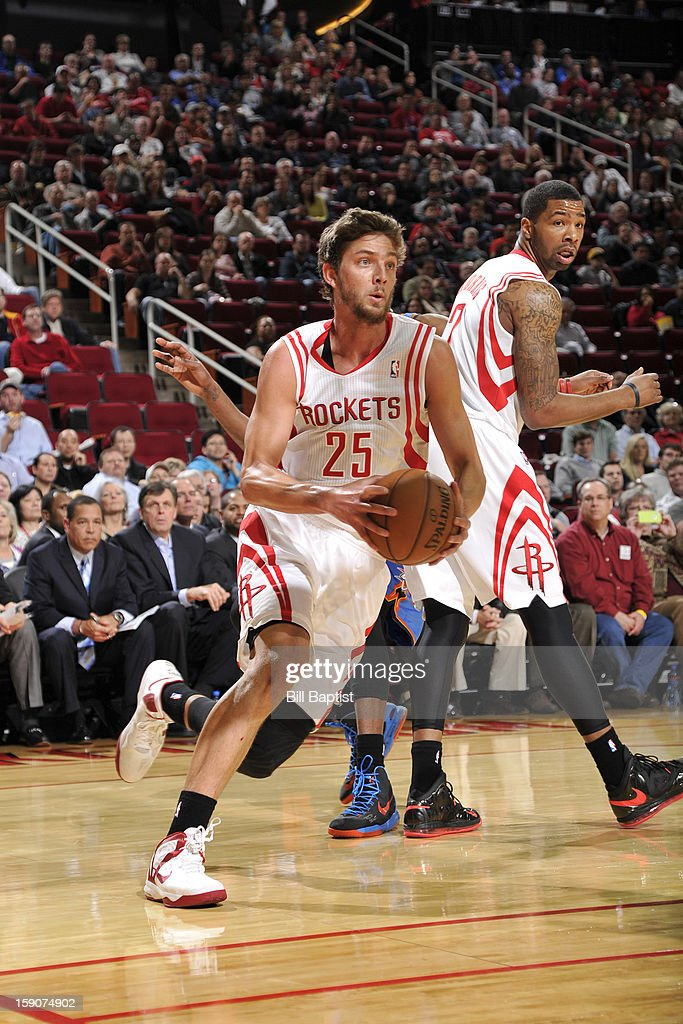 Chandler Parsons #25 of the Houston Rockets handles the ball against the Oklahoma City Thunder on December 29, 2012 at the Toyota Center in Houston, Texas.