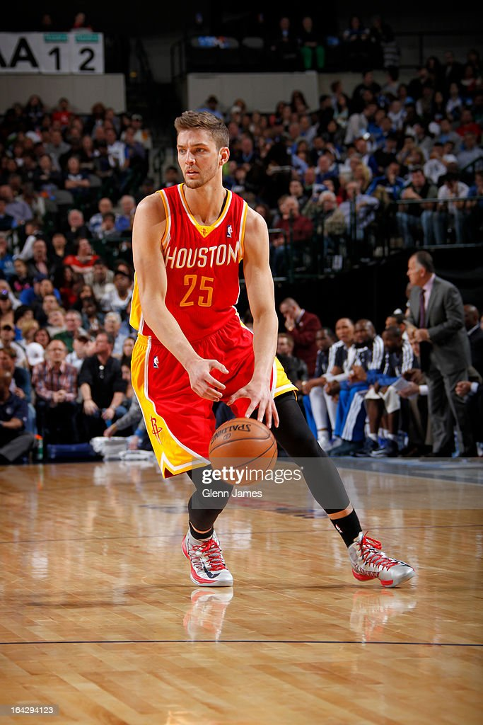 <a gi-track='captionPersonalityLinkClicked' href=/galleries/search?phrase=Chandler+Parsons&family=editorial&specificpeople=4249869 ng-click='$event.stopPropagation()'>Chandler Parsons</a> #25 of the Houston Rockets looks to drive to the basket against the Dallas Mavericks on March 6, 2013 at the American Airlines Center in Dallas, Texas.