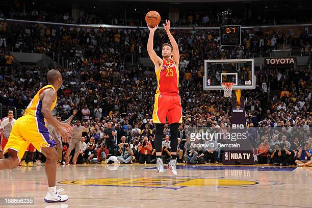 Chandler Parsons of the Houston Rockets makes a three pointer to tie the game at the end of regulation forcing overtime against the Los Angeles...