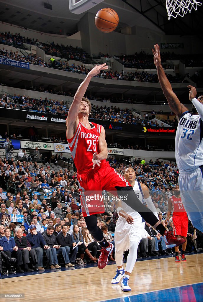 Chandler Parsons #25 of the Houston Rockets puts up a shot against the Dallas Mavericks on January 16, 2013 at the American Airlines Center in Dallas, Texas.