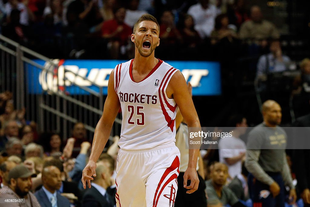 <a gi-track='captionPersonalityLinkClicked' href=/galleries/search?phrase=Chandler+Parsons&family=editorial&specificpeople=4249869 ng-click='$event.stopPropagation()'>Chandler Parsons</a> #25 of the Houston Rockets reacts after hitting a three pointer in the third period against the Oklahoma City Thunder during a game at the Toyota Center on April 4, 2014 in Houston, Texas.