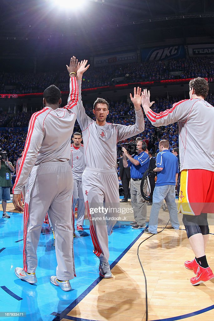Chandler Parsons #25 of the Houston Rockets runs out before the game against the Oklahoma City Thunder in Game Five of the Western Conference Quarterfinals during the 2013 NBA Playoffs on May 1, 2013 at the Chesapeake Energy Arena in Oklahoma City, Oklahoma.
