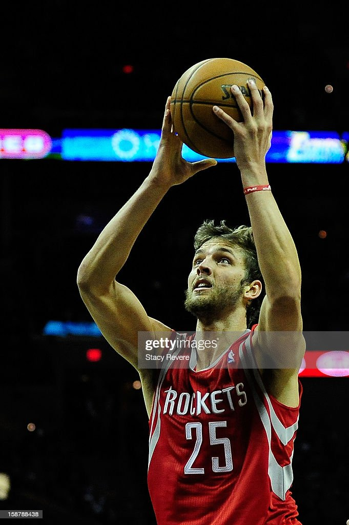 Chandler Parsons #25 of the Houston Rockets scores against the San Antonio Spurs during a game at AT&T Center on December 28, 2012 in San Antonio, Texas.