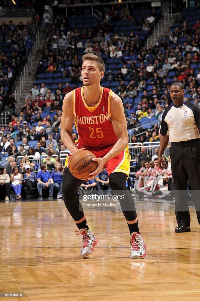 Chandler Parsons #25 of the Houston Rockets sets up for a jump shot against the Orlando Magic during the game on March 1, 2013 at Amway Center in Orlando, Florida.