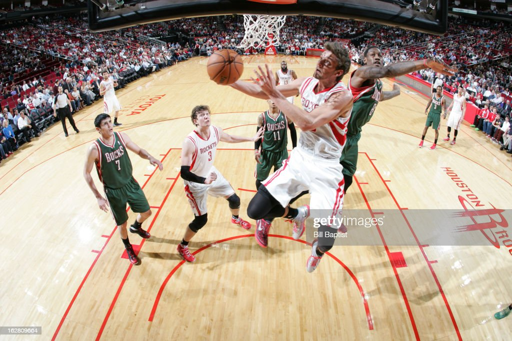 Chandler Parsons #25 of the Houston Rockets shoots a reverse layup against the Milwaukee Bucks on February 27, 2013 at the Toyota Center in Houston, Texas.