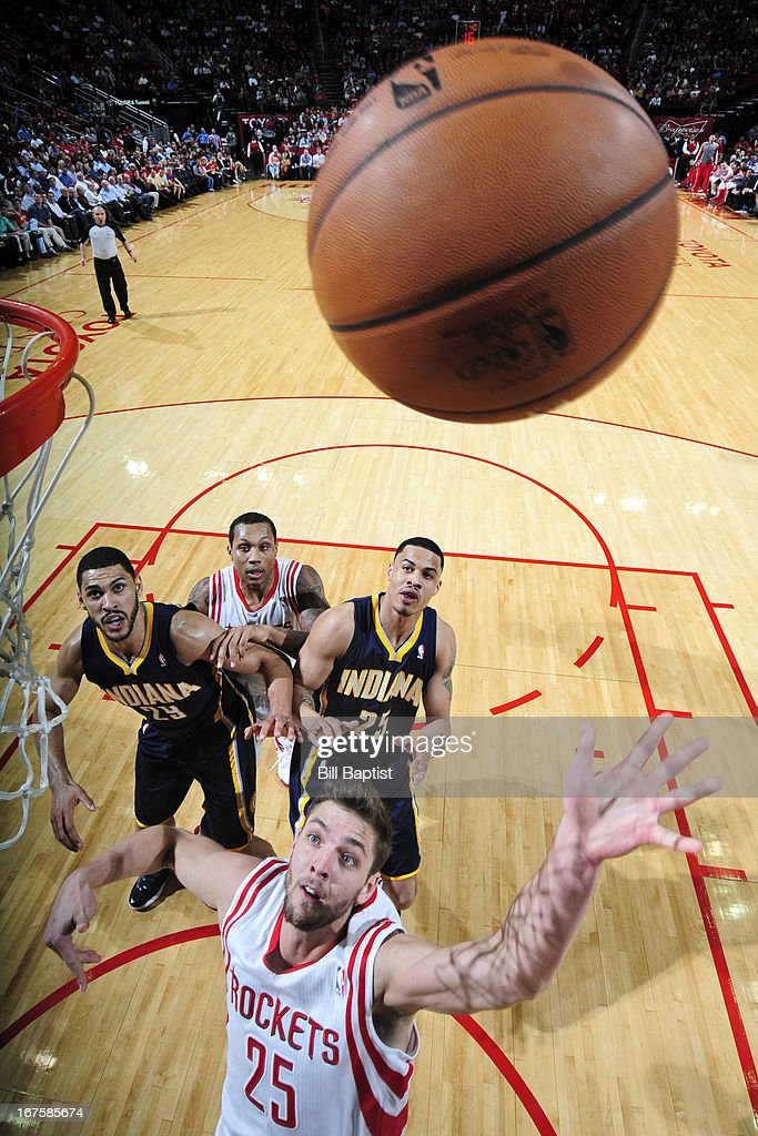 <a gi-track='captionPersonalityLinkClicked' href=/galleries/search?phrase=Chandler+Parsons&family=editorial&specificpeople=4249869 ng-click='$event.stopPropagation()'>Chandler Parsons</a> #25 of the Houston Rockets shoots against the Indiana Pacers on March 27, 2013 at the Toyota Center in Houston, Texas.