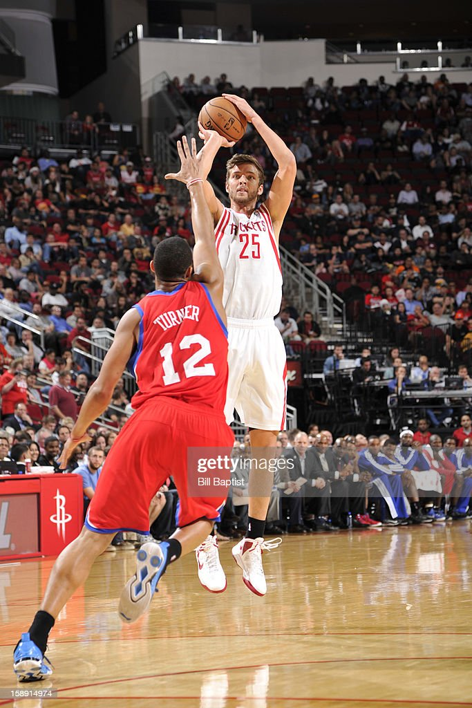 <a gi-track='captionPersonalityLinkClicked' href=/galleries/search?phrase=Chandler+Parsons&family=editorial&specificpeople=4249869 ng-click='$event.stopPropagation()'>Chandler Parsons</a> #25 of the Houston Rockets takes a shot against the Philadelphia 76ers on December 19, 2012 at the Toyota Center in Houston, Texas.