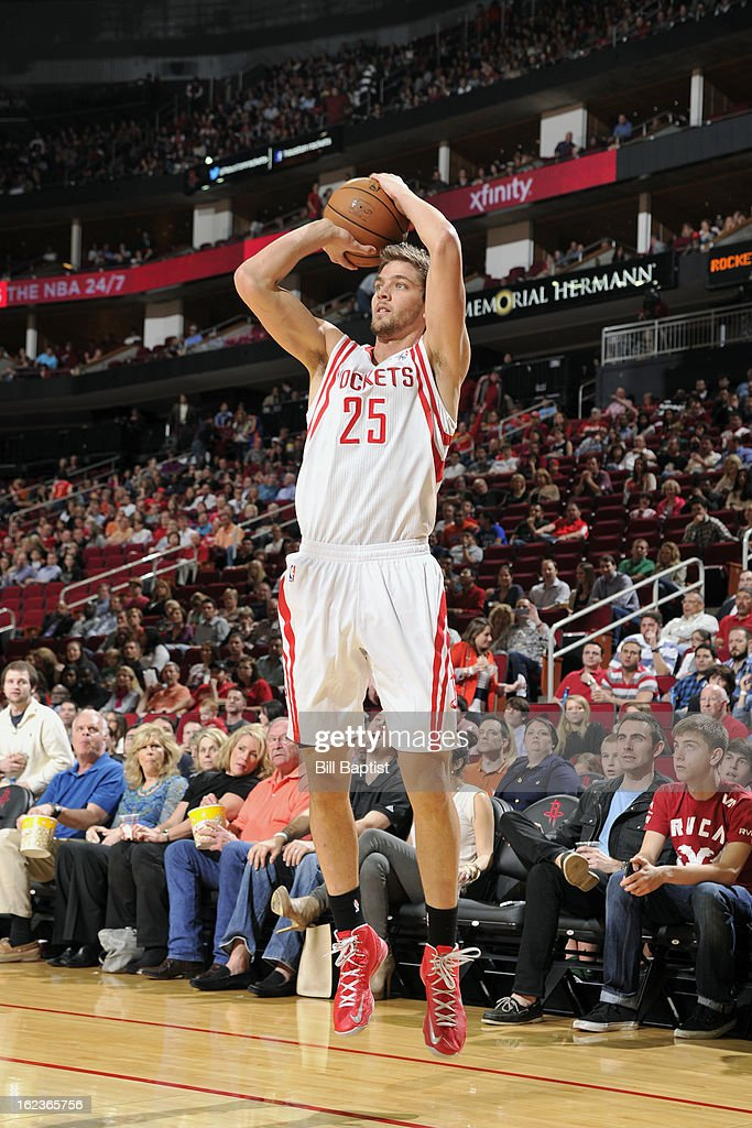 <a gi-track='captionPersonalityLinkClicked' href=/galleries/search?phrase=Chandler+Parsons&family=editorial&specificpeople=4249869 ng-click='$event.stopPropagation()'>Chandler Parsons</a> #25 of the Houston Rockets takes a shot against the Brooklyn Nets on January 26, 2013 at the Toyota Center in Houston, Texas.