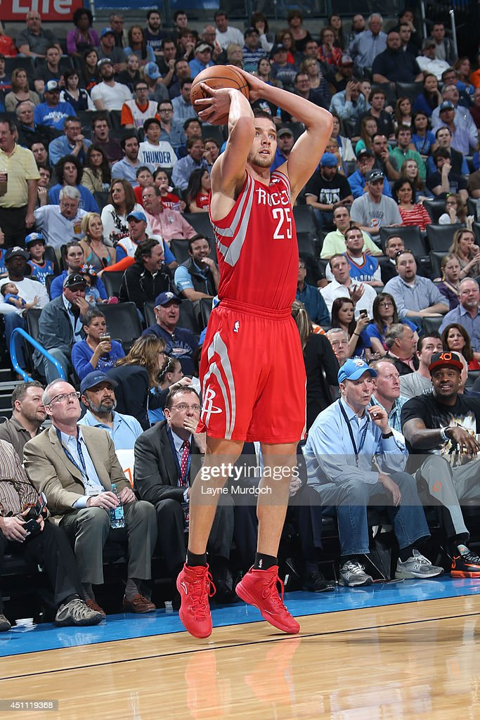 <a gi-track='captionPersonalityLinkClicked' href=/galleries/search?phrase=Chandler+Parsons&family=editorial&specificpeople=4249869 ng-click='$event.stopPropagation()'>Chandler Parsons</a> #25 of the Houston Rockets takes a shot against the Oklahoma City Thunder during an NBA game on March 11, 2014 at the Chesapeake Energy Arena in Oklahoma City, Oklahoma.