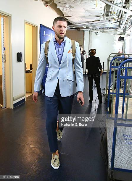 Chandler Parsons of the Memphis Grizzlies arrives at the arena before the game against the New York Knicks on October 29 2016 at Madison Square...