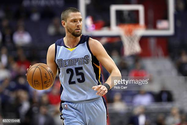 Chandler Parsons of the Memphis Grizzlies dribbles the ball against the Washington Wizards at Verizon Center on January 18 2017 in Washington DC NOTE...