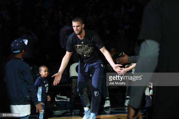 Chandler Parsons of the Memphis Grizzlies runs out before the game against the Phoenix Suns on February 8 2017 at FedExForum in Memphis Tennessee...