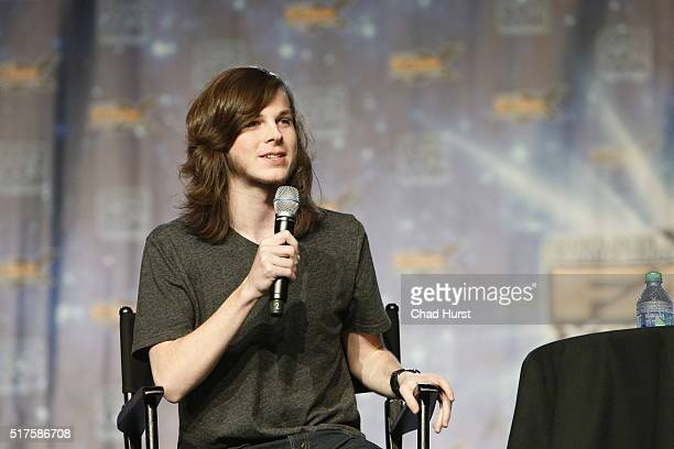 Chandler Riggs attends the 2016 Salt Lake Comic Con Fan Xperience at Salt Palace Convention Center on March 25 2016 in Salt Lake City Utah