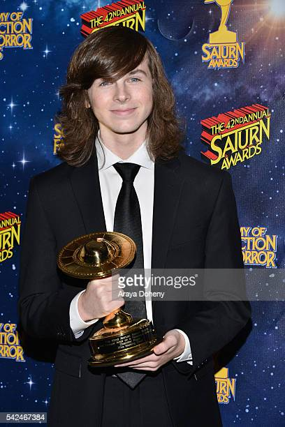 Chandler Riggs poses in the pressroom at the 42nd Annual Saturn Awards at the Castaway on June 22 2016 in Burbank California