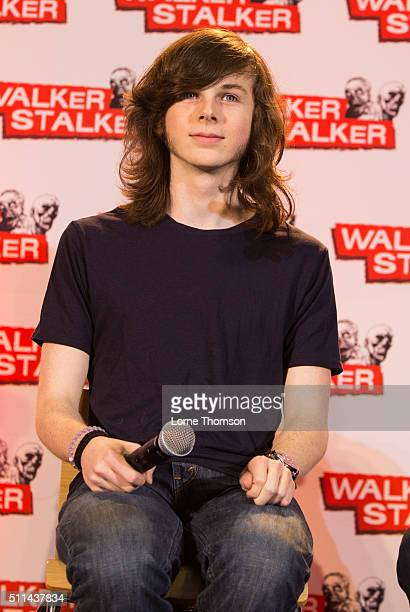 Chandler Riggs takes part in a panel on the first day of Walker Stalker Con at Olympia Exhibition Centre on February 20 2016 in London England