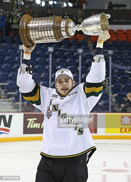 Chandler Yakimowicz of the London Knights celebrates victory against the Niagara IceDogs in Game Four of the OHL Championship final for the JRoss...