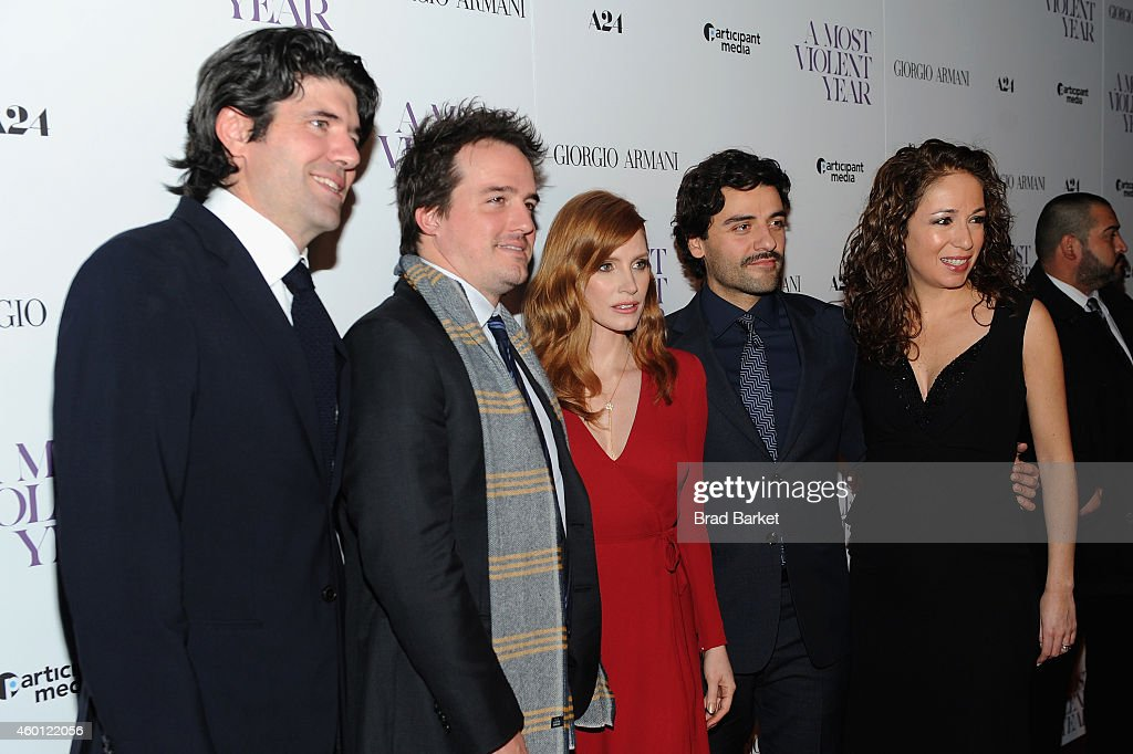 J.C. Chandor, Neal Dodson, Jessica Chastain, Oscar Issac and Anna Gerb attend the New York premiere of 'A Most Violent Year' at Florence Gould Hall on December 7, 2014 in New York City.