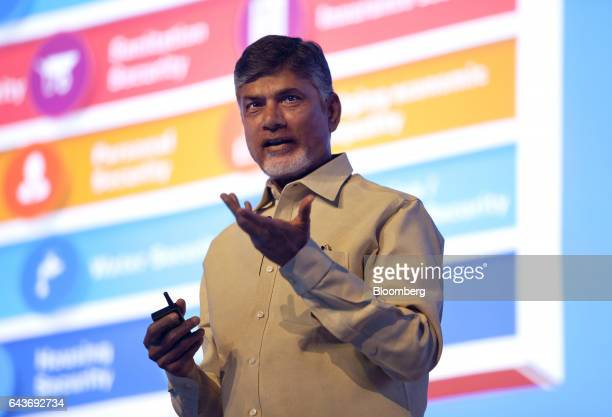 Chandrababu Naidu chief minister of Andhra Pradesh gestures as he speaks during the Microsoft Decoded conference in Mumbai India on Wednesday Feb 22...