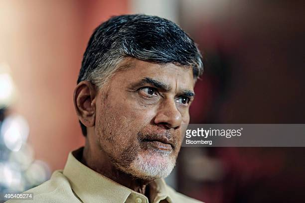 N Chandrababu Naidu chief minister of Andhra Pradesh listens during an interview in Delhi India on Monday Oct 5 2015 Andhra Pradeshs state government...