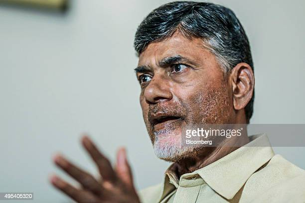 N Chandrababu Naidu chief minister of Andhra Pradesh speaks during an interview in Delhi India on Monday Oct 5 2015 Andhra Pradeshs state government...